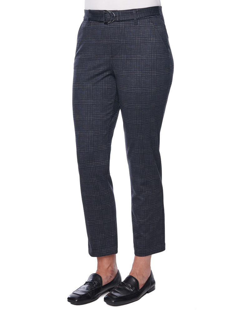 """Ab""solution High Rise Belted Plaid Trouser"