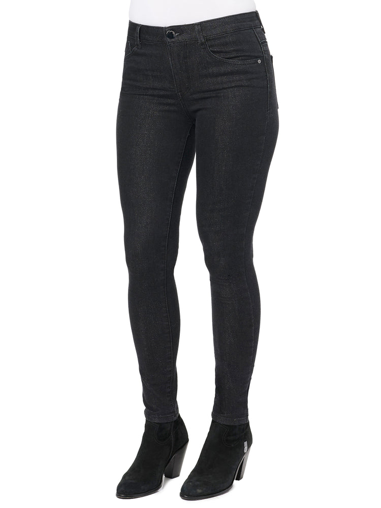 """Ab""solution Lurex High Rise Ankle Length Black Jean"