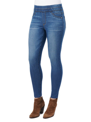 Absolution stretch blue denim high rise pull on glider jeggings skinny jeans