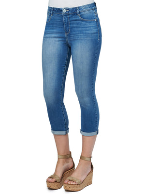 "Modern ""Ab""solution High Rise Crop Stretch Luxe Touch Denim Skinny Cropped Jeans"