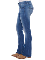 """Ab""solution Embroidered Pockets Itty Bitty Boot Cut Blue Jeans"