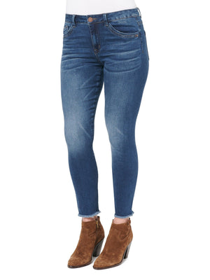 Load image into Gallery viewer, High Rise Seamless Ankle Skimmer Fray Hem Stretch Blue Denim Jeans