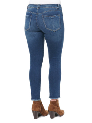 Load image into Gallery viewer, High Rise Seamless Ankle Skimmer Fray Hem Blue Jean