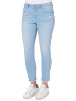High Rise Seamless Fray Hem Ankle Skimmer Jeans
