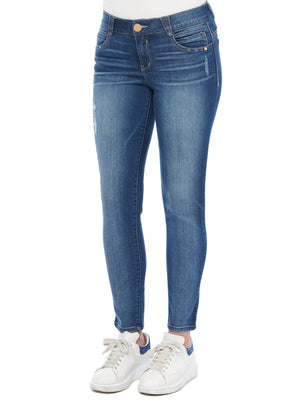 "Load image into Gallery viewer, ""Ab""solution Ankle Length Jegging Stretch Denim Slightly Destructed Blue Wash Skinny Jeans"