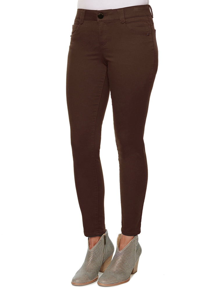 """Ab""solution Booty Lift Ankle Length Stretch Colored Jeggings cold brew brown"