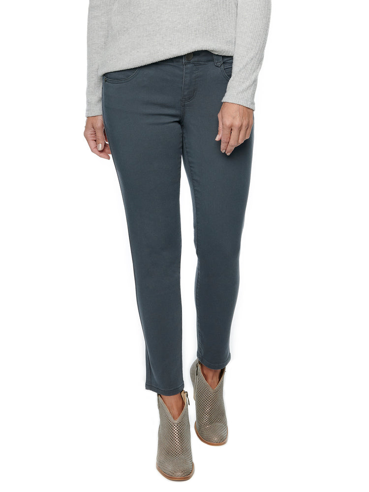 """Ab""solution Booty Lift Ankle Length Stretch Colored Jeggings shadow grey blue"