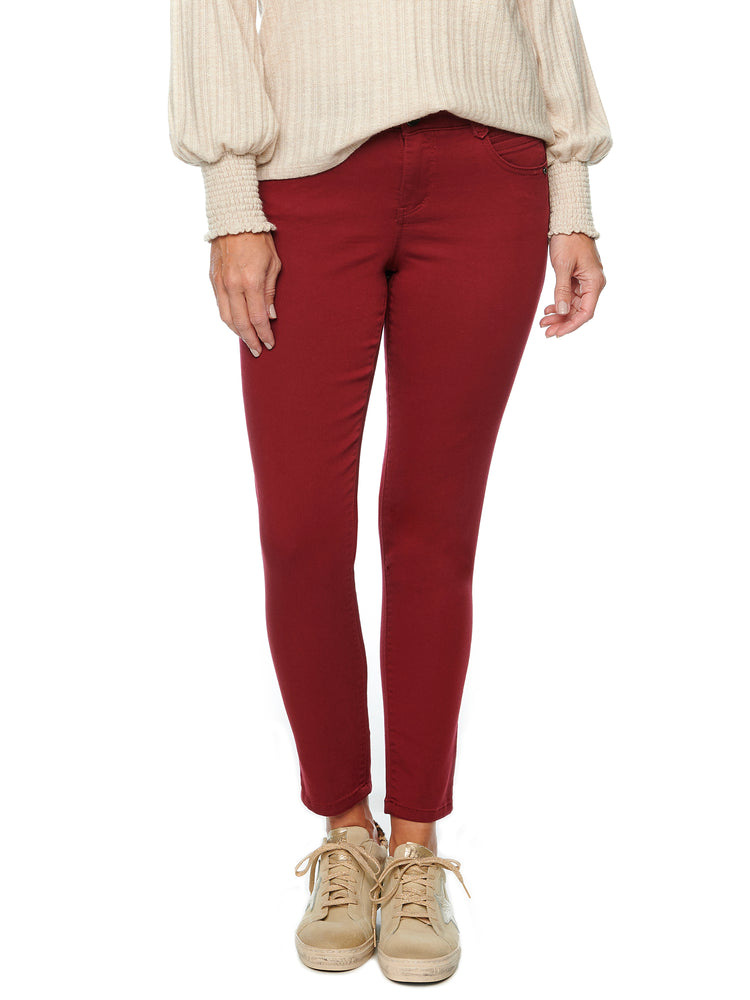 """Ab""solution Booty Lift Ankle Length Stretch Colored Jeggings wine skinny jeans"
