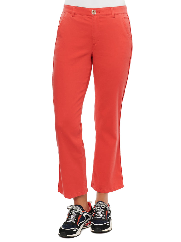 Absolution high rise stretch crop trouser coral punch orange