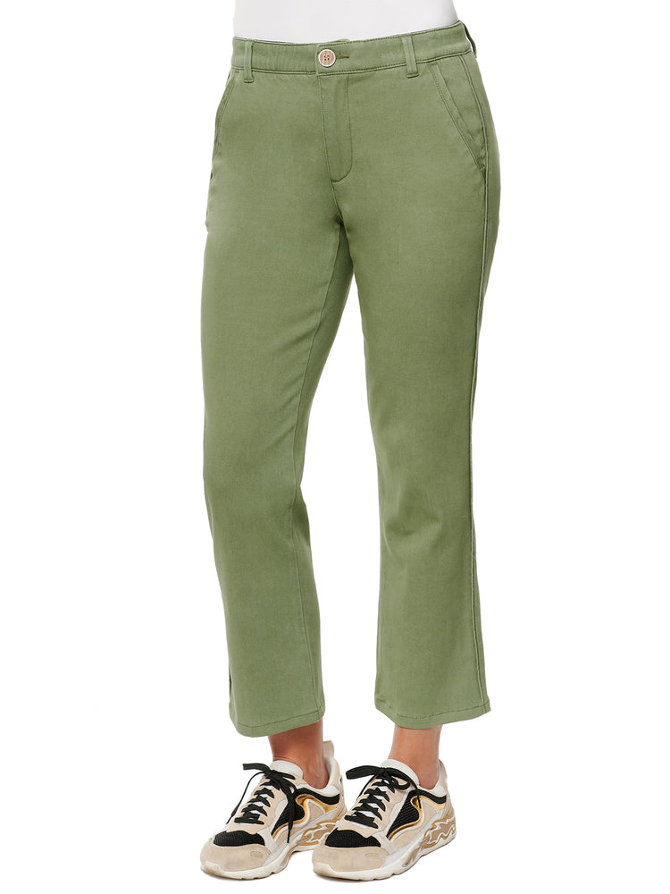 Absolution high rise stretch crop trouser lily pad olive