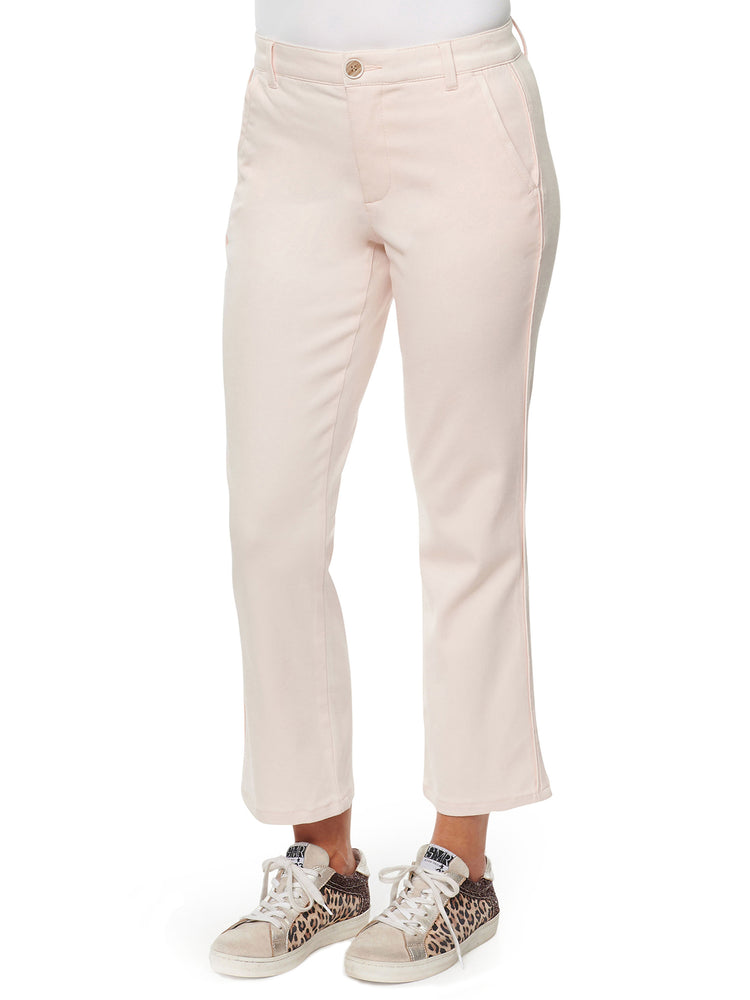 Absolution high rise stretch crop trouser silver peony soft pink