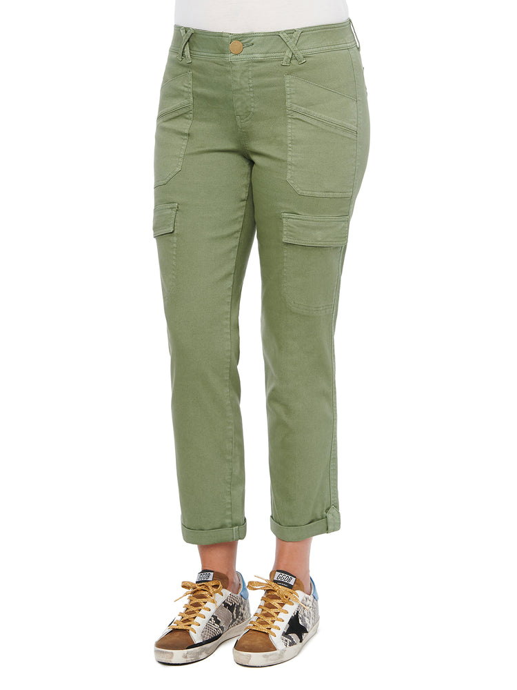 """Ab""solution High Rise Roll Cuff Cargo Pocket Utility Lily Pad Olive Colored Pants"