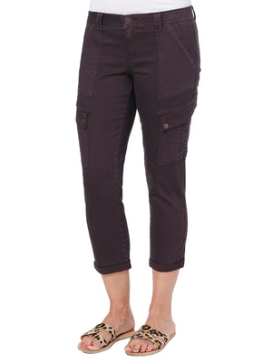Absolution Roll Cuff Cropped Utility Pant Cabernet Deep Wine Purple Colored Bottoms