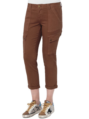 Absolution Roll Cuff Cropped Utility Pant Neutral Brown Raw Umber Colored Bottoms