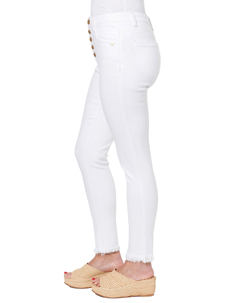 """Ab""solution High Rise Button Fly Optic White Jeans"