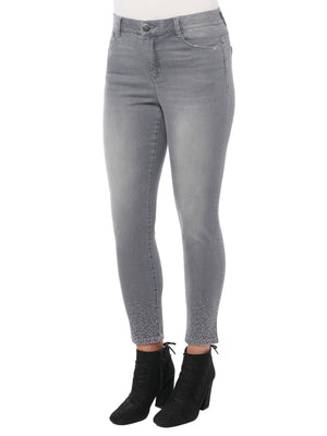 absolution high rise ombre detailed grey denim ankle skimmer jean