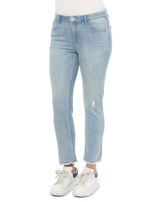 Load image into Gallery viewer, Absolution High Rise Slim Straight Ankle Length Frayed Hem Light Blue Stretch Denim Jeans