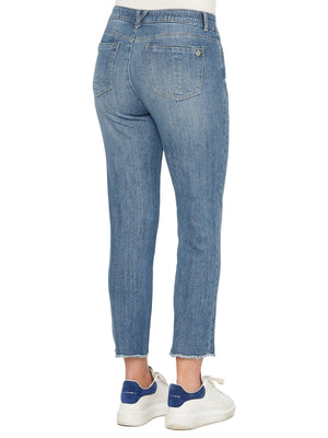"""Ab""solution High Rise Slim Straight Scallop Fray Blue Jeans"