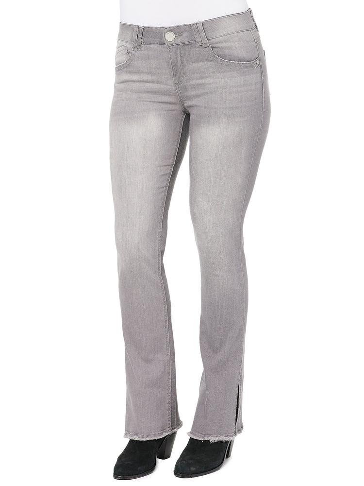 """Ab""solution Itty Bitty Boot Gray Split Leg & Fray"