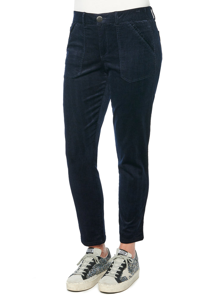 """Ab""solution High Rise Stretch Corduroy Utility Pants  Navy"