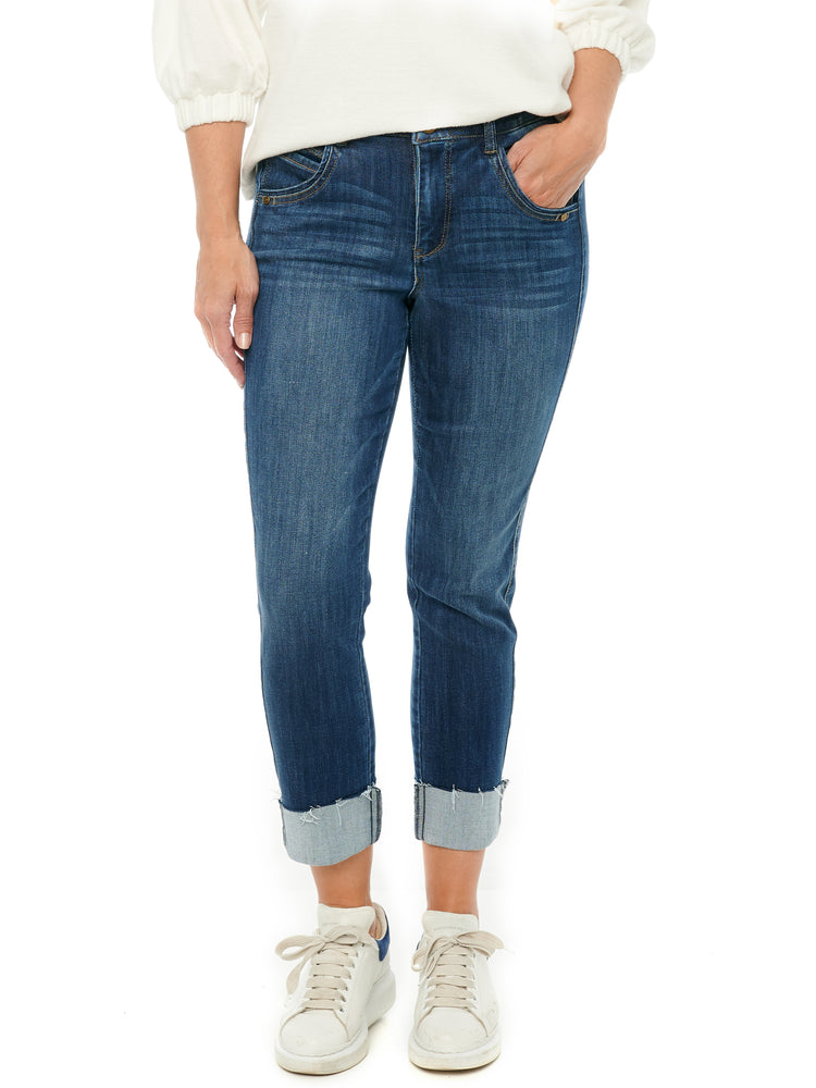 """Ab""solution High Rise Slim Straight Crop Blue Jeans"