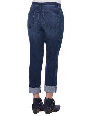 "Load image into Gallery viewer, ""Ab""solution Slim Straight Roll Cuff Girlfriend Jean"