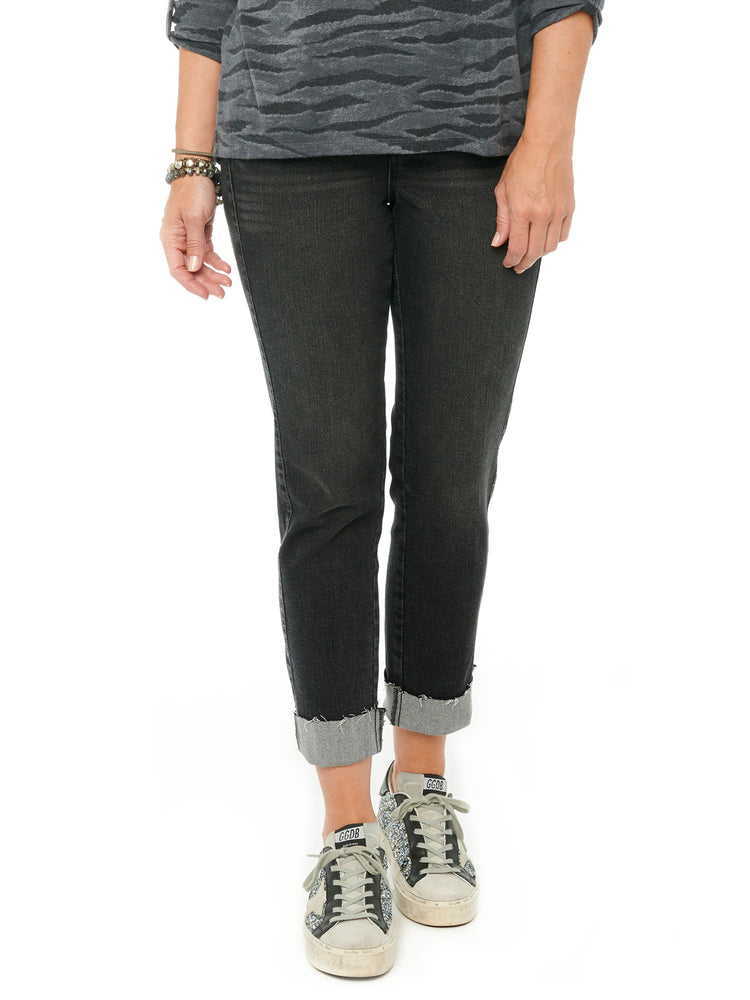 Absolution High Waisted Slim Straight Crop Jeans Sparkle Black Stretch Denim