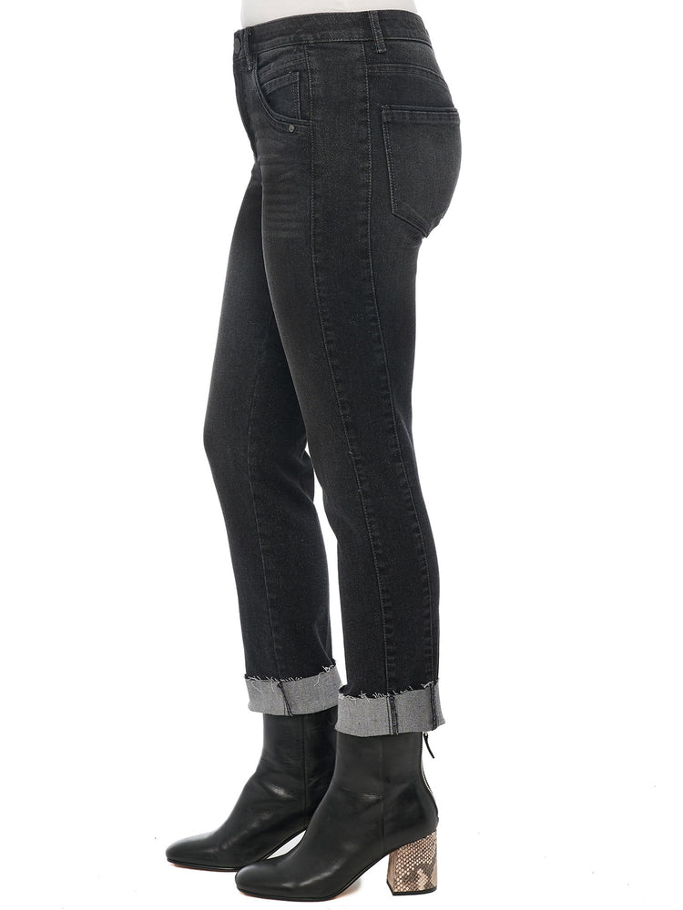 """Ab""solution High Rise Slim Straight Crop Sparkle Black Denim"