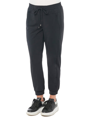 High Waisted Black Stretch Spandex Tech Knit Joggers With Side Panels And Pockets Jogger Pants