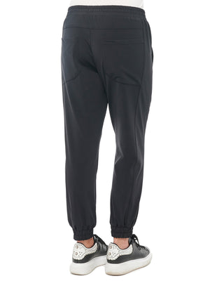 High Rise Side Panel Stretch Tech Knit Black Jogger