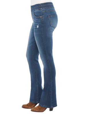 """Ab""solution High Rise Itty Bitty Boot Distressed Blue Glider"