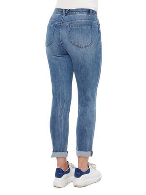 """Ab""solution High Rise Button Front Blue Denim Vintage Skinny Jeans"