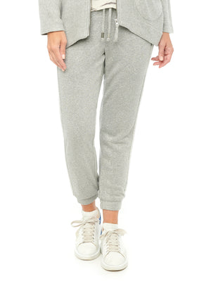 High Waisted Joggers Soft Cotton Modal Polar Fleece Sweatpants With Side Panels Heather Grey