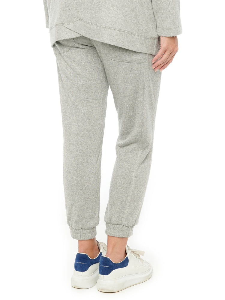 High Rise Heather Grey Side Panels Soft Joggers