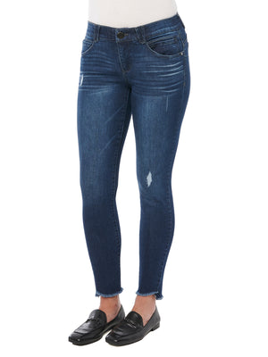 """Ab""solution Ankle Length Curved Fray Hem Blue Jeans"