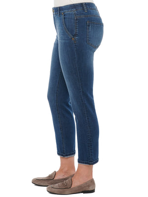 "Load image into Gallery viewer, ""Ab""solution Blue Denim Trouser Ankle Length Pants"