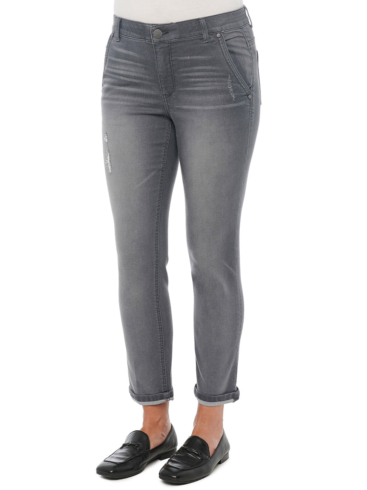 Absolution Distressed Vintage Gray Stretch Denim Ankle Length Luxe Touch Denim Grey Trousers