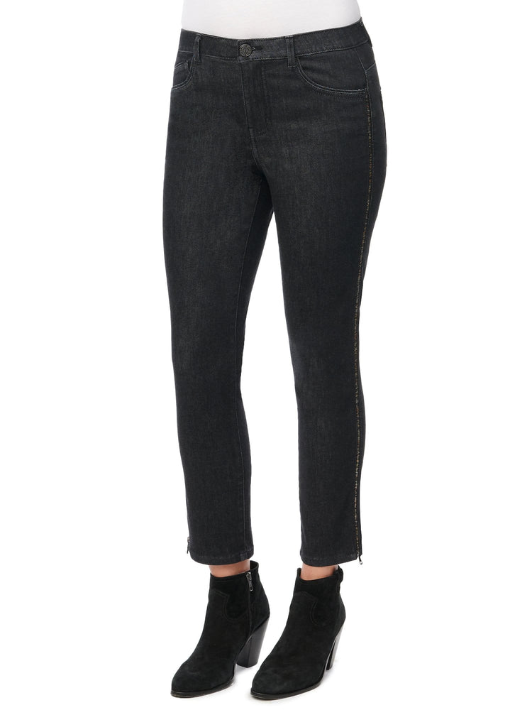"High Rise Skinny Black ""Ab""solution® Zipper Side Seam Jean"