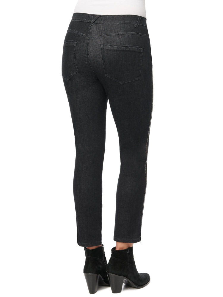 "High Rise Skinny Stretch Black Denim ""Ab""solution® with Zipper Side Seam Detail Jean"