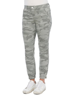 High Rise Stretch Camouflage Utility Jogger Stretch Twill High Waisted Stormy Sea Olive Green Camo Pants