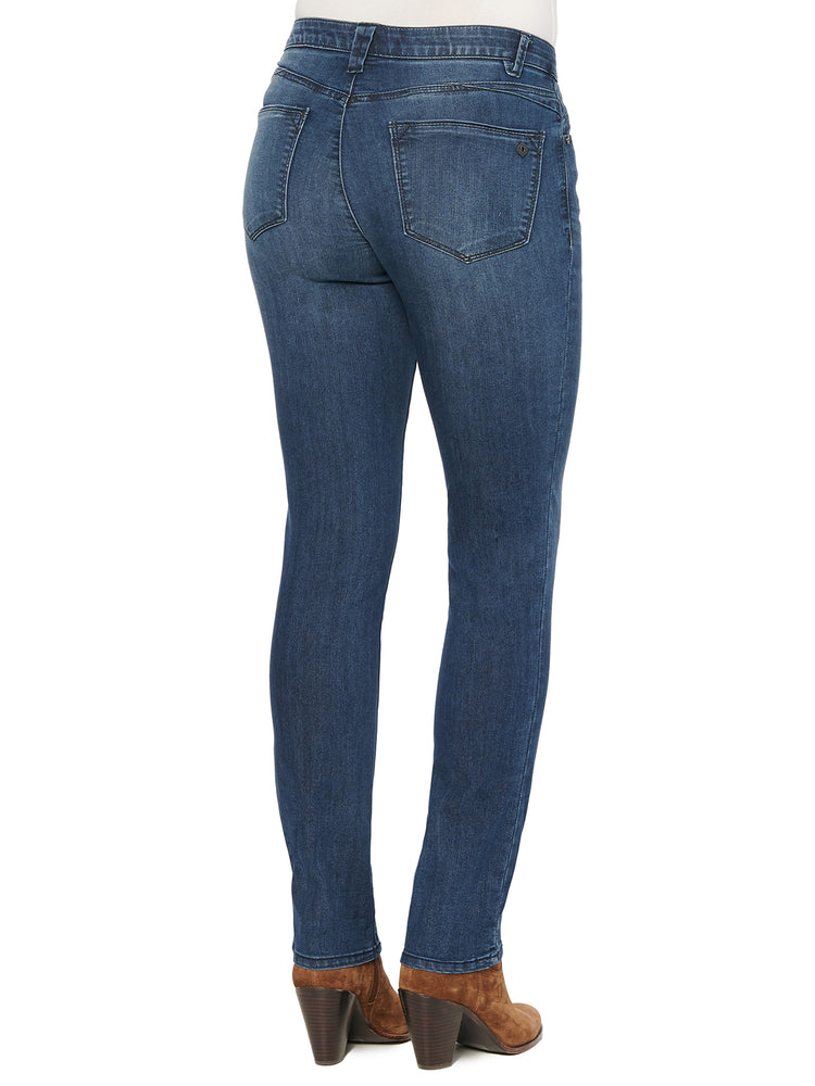 """Ab""solution High Rise Straight Leg Distressed Indigo Jeans"