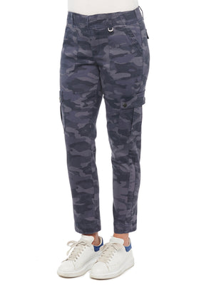 "Load image into Gallery viewer, ""Ab""solution High Rise Patch Cargo Pocket Camo Petite Utility Pant Midnight Indigo Blue Camo"