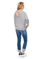 Dolman Back Keyhole Twist Stripe Top