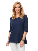 Elbow Sleeve Wide Scoop Neck Pocket Tee