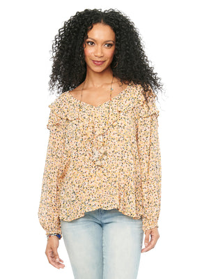 V-neck womens ruffle detail fashion top floral printed lightweight woven v neck blouse flounce hem