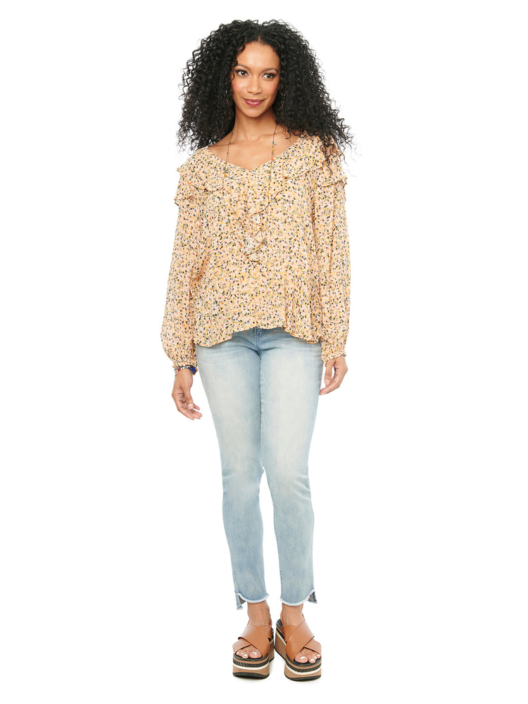 Load image into Gallery viewer, Blouson Long Sleeve Cascade Ruffle Floral Woven Blouse