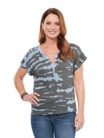 Cap Sleeve Tie Dye Knit Henley Tee Shirt Charcoal Blue