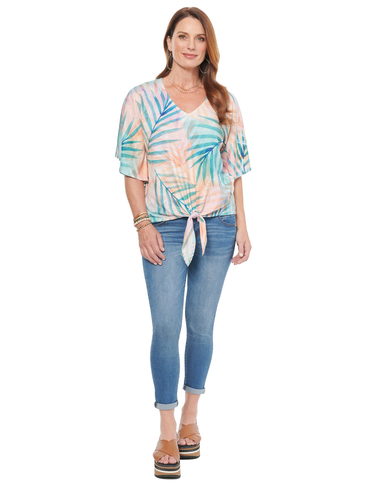 V Neck Tie Hem Palm Print Knit Top