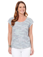 Scoop Neck Twist Back Camo Print Tee