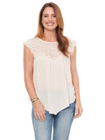 Scallop Sleeve Crochet Tank